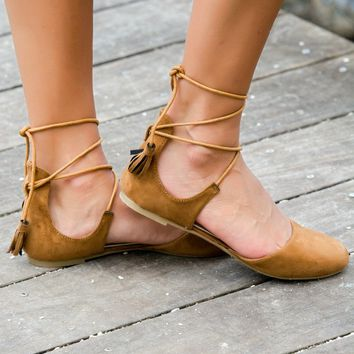 Tan Suede Tassel Ankle Wrap Flats Shop Simply Me Boutique Shop SMB – Simply Me Boutique