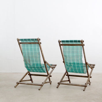 SALE vintage deck chairs / rocking beach chairs