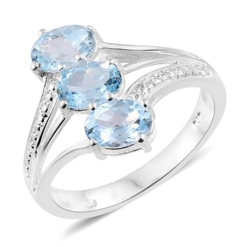 Sky Blue Topaz Sterling Silver 3 Stone Ring