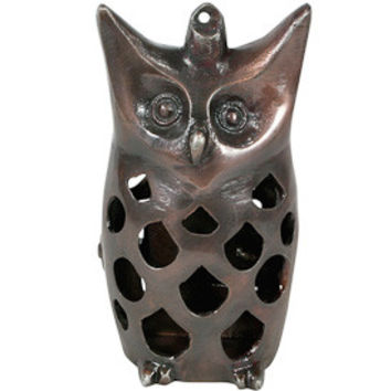 Recycled Metal Owl Luminary from India