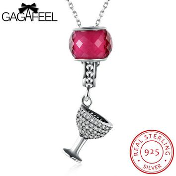 GAGAFEEL Wineglass Statement Necklace 100% Sterling Silver Jewelry Night Out Accessory 60+5CM Length Zircon Chain Dropshipping
