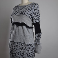 Leopard Sweater Dress - Up-cycled Sweater Dress - Up-cycled Clothing - OOAK Sweater Dress - Leopard