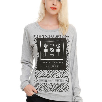 Gray Printed Causal Loose Sweater B0013981