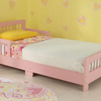 Pink Slatted Toddler Bed