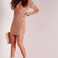 Missguided - Faux Suede Lace Up Detail Bodycon Dress Tan