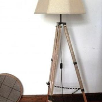 Tripod Lamp – Surveyor bleached wood  Lighting  Recreate