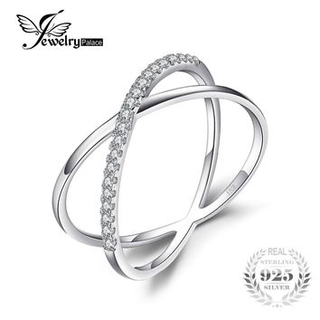 JewelryPalace X Marks Round Cocktail Ring For Women Pure 925 Sterling Silver Jewelry Fashion Ring Brithday Gift