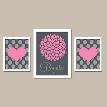 Pink Charcoal Gray Flower Dahlia Hearts Polka Dot Pattern Custom Girl Name Set of 3 Prints WALL ART Decor Bedroom Nursery Baby Crib Picture