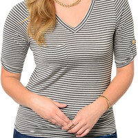 [HOT SELLER] Gray White Plus Size Girly Pin Striped V Neckline Solo Front Pocket Cuffed Sleeve Top