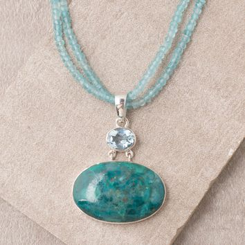 Chrysocolla Blue Topaz Pendant - One Of A Kind