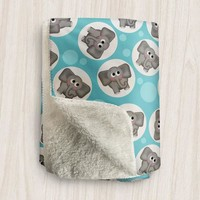 Turquoise Elephant Sherpa Fleece Blanket - Cute Elephant Pattern on Turquoise - Turquoise Elephant Blanket, 2 sizes available, Made to Order