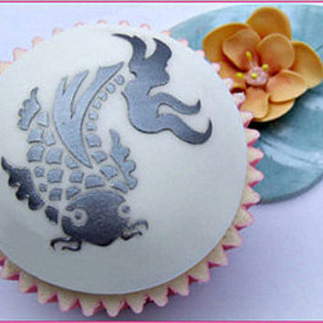 Koi fish stencil - cake decorating stencil, cupcake stencil, cookie stencil - UK, EU, US food safe