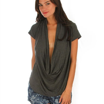 CHARCOAL DEEP COWL NECK TOP