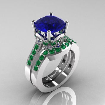 Classic 14K White Gold 3.0 Carat Blue Sapphire Emerald Solitaire Wedding Ring Set R301S-14KWGEMBS