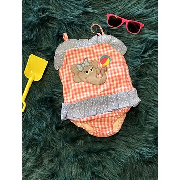 2018 Summer Adorable Elephant Applique One Piece Sun Suit