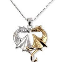 Dragon Heart Gold and Sterling Silver Pendant Necklace