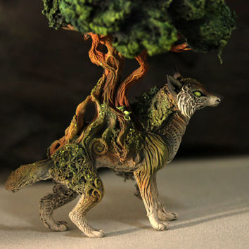 Bonsai Wolf Skulpture Figurine Art Fantasy Animals Wolves Guargian Spirit Amulet