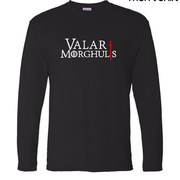 Game Of Thrones men's long sleeve T-shirt The Song of Fire and Ice Valar Morghulis 2017 autumn 100% cotton hip hop man t shirt