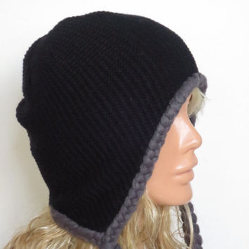 Black Grey knit cable plait cozy Hat ear warmer birthday gifts women's accessory, artificial hair weave hat, Accessories, Hats, Woman