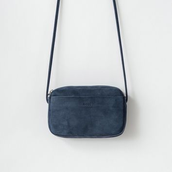 BAGGU Leather Mini Purse Navy Nubuck