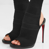 Christian Louboutin - Cheminene 120 cutout stretch-knit sock boots