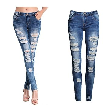Slim Ripped Jeans Washed Stretch Denim Pants