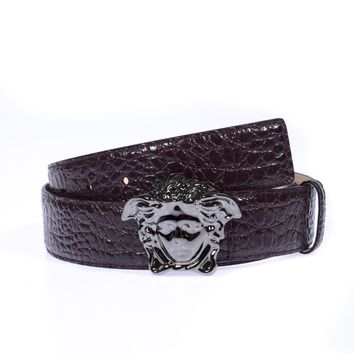 Versace Belt Sz. 100 Leather Made Italy Man Purple DCU4140DVSTCO-KU4UB PUT OFFER
