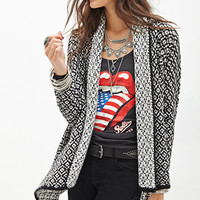 FOREVER 21 Two-Toned Knit Cardigan Black/Cream