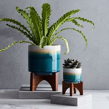 Mid-Century Turned Leg Tabletop Planters - Reactive Glaze