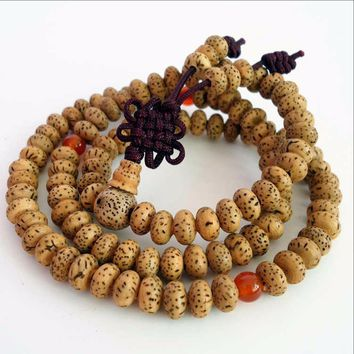 Brown Beaded Tibetan Star Moon Bodhi Seed Bracelet