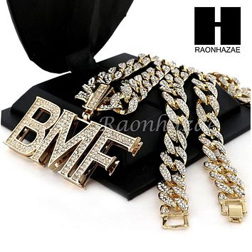 "Mens Hip Hop 14k Plated BMF Pendant 30"" Iced Out Cuban Link Chain NN030G"