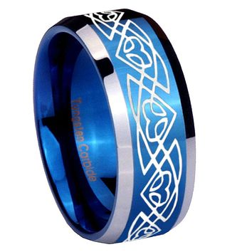 8mm Celtic Braided Beveled Edges Blue 2 Tone Tungsten Mens Ring Engraved