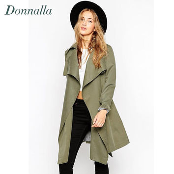 Women Trench Fashion 2016 Autumn Winter Army Green Long Overcoat Women Coat Casual Slim long Coats Outwear Plus Size Trench