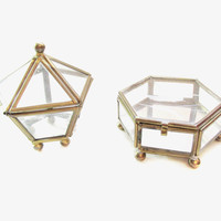 Vintage Glass / Brass Trinket Boxes, Mini Terreriums