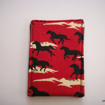 Wild Horses Red Black Ivory Phone Cozy Case for Ipod or Iphone