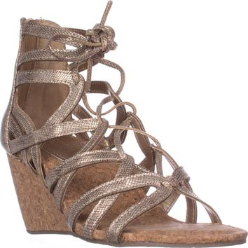 Kenneth Cole REACTION Cake Pop Wedge Sandals, Soft Gold, 6.5 US / 37 EU