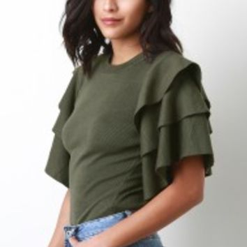 Triple Ruffled Knitted Sweater Top