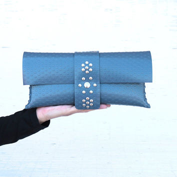 Womens handmade blue clutch Vegan handbag clutch for her Ecofriendly vinyl envelope clutch purse for trendy womens Personalized gift idea
