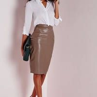 Missguided - Back Split Faux Leather Midi Skirt Taupe