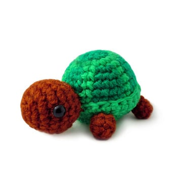 Green Turtle Handmade Amigurumi Stuffed Toy Knit Crochet Doll VAC