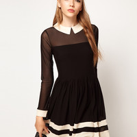 ASOS Skater Dress In Mesh With Contrast Detail