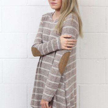 Brushed Hacci Striped Elbow Patch Long Sleeve {Taupe Mix}
