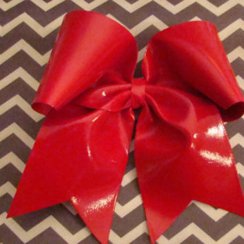 Red Wet Look Cheer Bow by isparklethat on Etsy