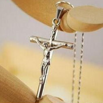 Silver Jesus Cross Necklace 18K Real Gold Plated INRI Pendant For Women/Men Fashion Religious Jewelry Crucifix Necklace 0242