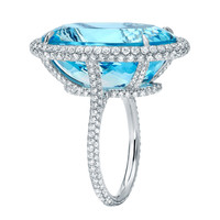 TAMIR Spectacular Aquamarine and Micro-Set Diamond Ring