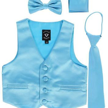 Aqua Blue Satin Boys 4-pc Vest Set w. Ties & Pocket Square 3M-14