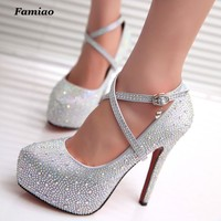 FAMIAO women high heels prom wedding shoes lady crystal platforms silver Glitter rhinestone bridal shoes thin heel party pump