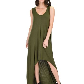 Lyss Loo Rock & Ready Sleeveless Hi-Lo Olive Maxi Dress