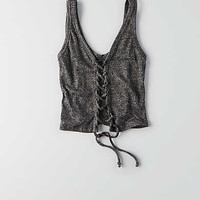 Don't Ask Why Lace-Up Tank, Black