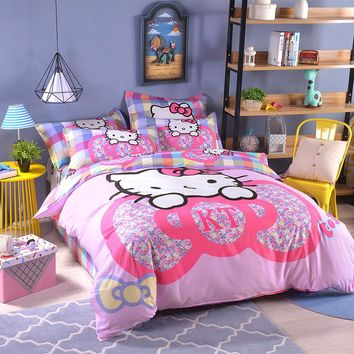 UNIKEA Cartoon Bedding Set for Child Girls Printed Duvet Cover Flat Sheet with Pillowcases Stars kt0536